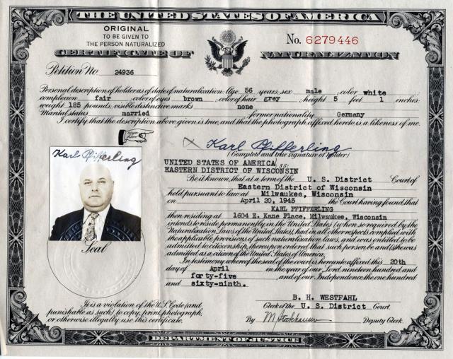Opa Karl's naturalization paper.
