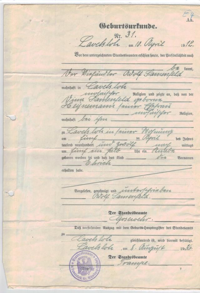 Erich Samenfeld: Birth Certificate