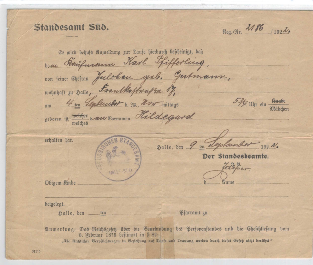 Hidegard Pfifferling: Birth Certificate
