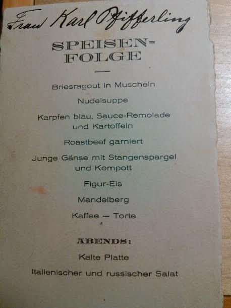 SPEISEN-FOLGE / Dinner Following